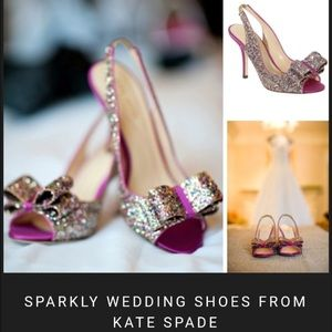 Kate Spade Charm Bow Glitter heels